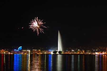 Fireworks Over Lake Geneva, Switzerland Stock Photo