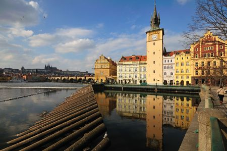 Prague waterworks, Charles Bridge, river and Castle