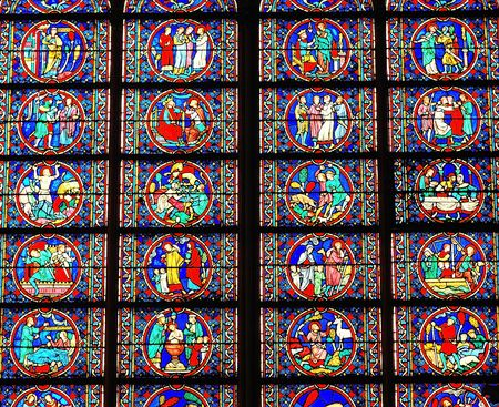 Matrix in a stained glass window in a French Cathedral Stock Photo