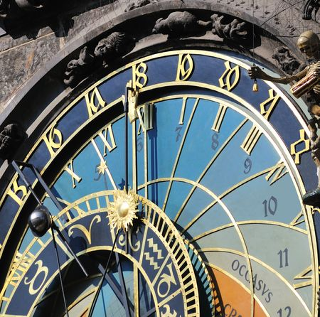 Closeup of ancient Clock in main square in Prague, Czech Republic Stock Photo