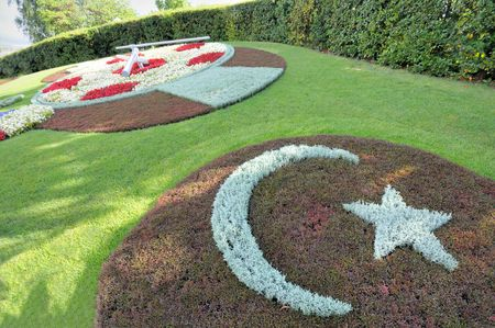 Flower clock with a football theme in Geneva, Switzerland,