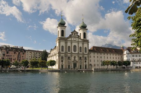 Jesuit Church in Lucerne Switzerland on a beautiful summer day.