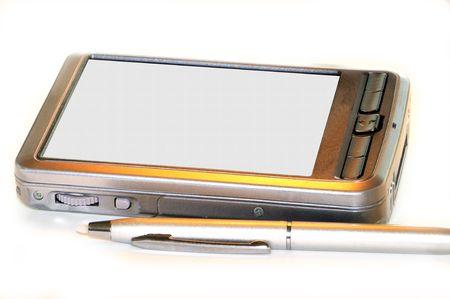 스타일러스와 펜 개인 디지털도 서 또는 메시지에 대 한 복사 공간 화이트 격리하는 펜.