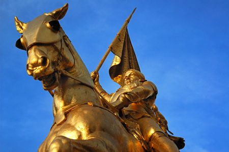Bronze statue of Joan of Arc on Rue de Rivoli in Paris.