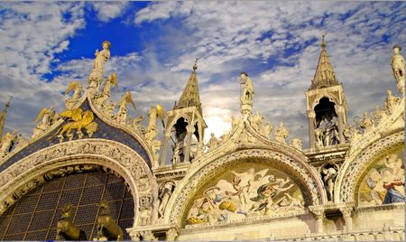 Detail of facade of Saint Marks cathedral in Venice, Italy Stock Photo