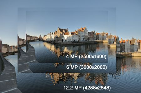 The same image at 12, 6 and 4 megapixels showing relative sizes.