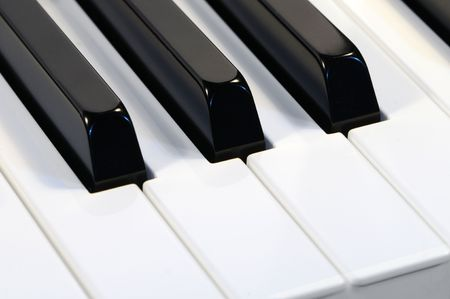Close-up of white and black piano keys. Stock Photo