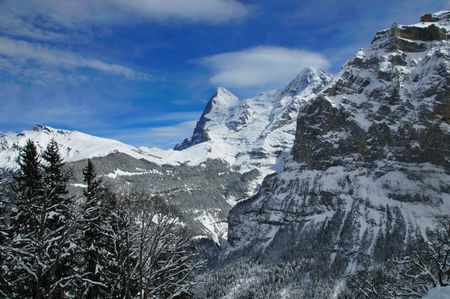 Eiger peak seen from a distance across Lauterbrunnen valley. Stock Photo