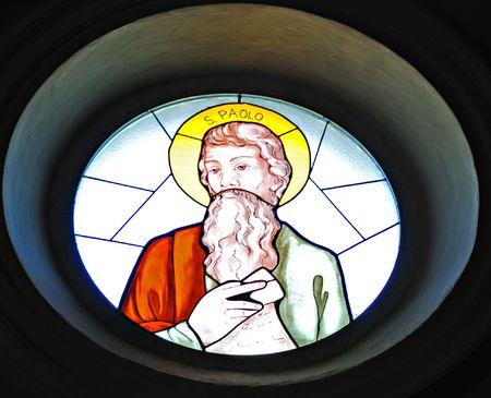 Stained Glass window portrait of Saint Paul. Stock Photo