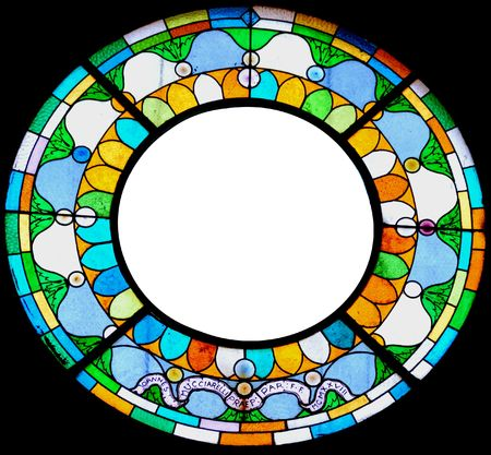 Circular stained glass frame for picture or message. Stock Photo
