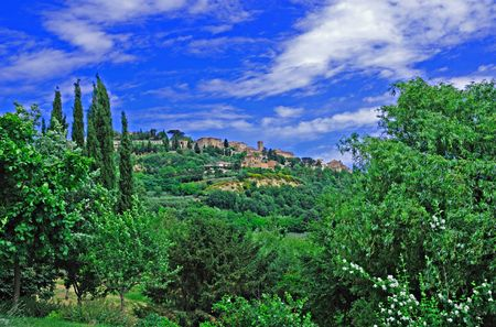 Hilltop village of Montepulciano in the Tuscany region of Italy.