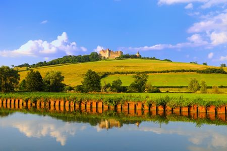 Chateauneuf in Burgundy, France from the Dijon canal.