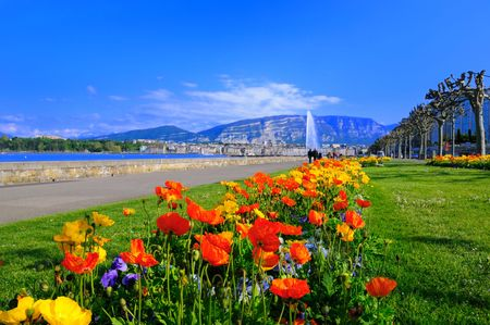 Springtime on the corniche in Geneva, Switzerland. Stock Photo
