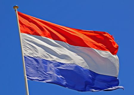 the netherlands: Netherlands Flag fluttering in a brisk breeze. Stock Photo