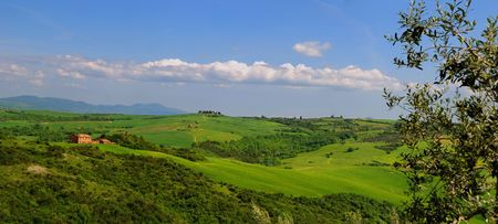 Summer Panorama of the countryside in Tuscany. Stock Photo