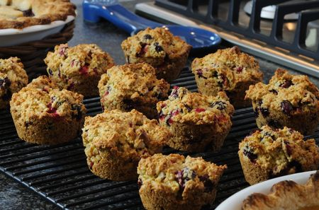 Cranberry muffins just out of the oven.
