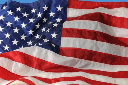 Close of of U.S. Flag fluttering in the breeze.. Stock Photo
