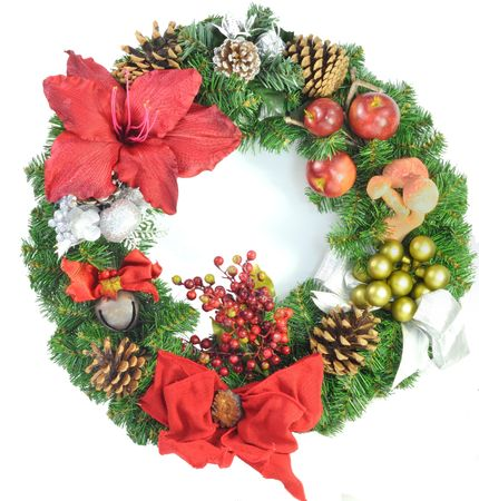 Christmas wreath isolated on a white background