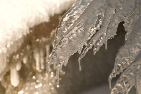 Close up of ice from flowing water.