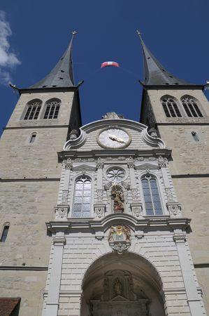 Twin steepled Hof Church in Lucerne Switzerland.