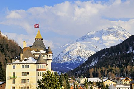 View of the Swiss mountain village of Pontresina in the Swiss Alps. Stock Photo