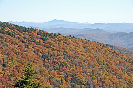 Autumn vista from a high pass in the Appalachian Mountains in North  Carolina.