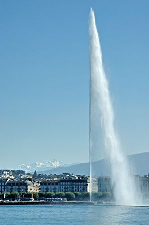 Jet dEau in Geneva Switzerland from the lake Geneva corniche.