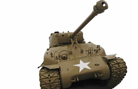 Old U.S. Army WWII battle tank isolated on a white background.
