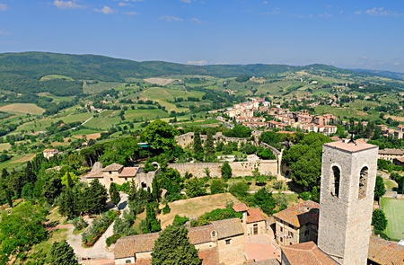 View of Tuscany from the top of the Torre Grosso in San Gimignano