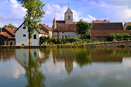 Small village along the Dijon canal in Burgundy, France