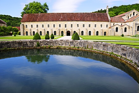 Well and grounds of the Abbaye de Fontenay in Burgundy France.