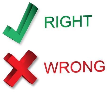 Right and wrong symbols