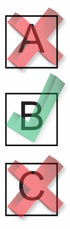 Check boxes with right and wrong symbols  Stock Photo
