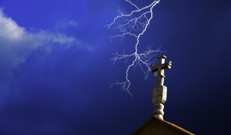Church cross with lightning