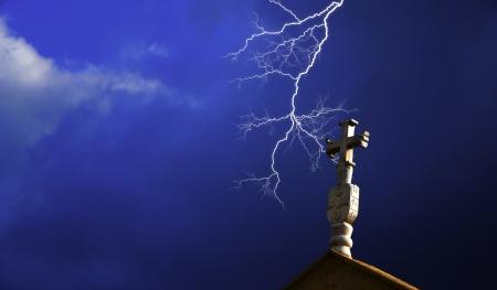 Church cross with lightning