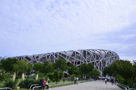 Beijing Olympic Park birds Nest National Stadium Editorial