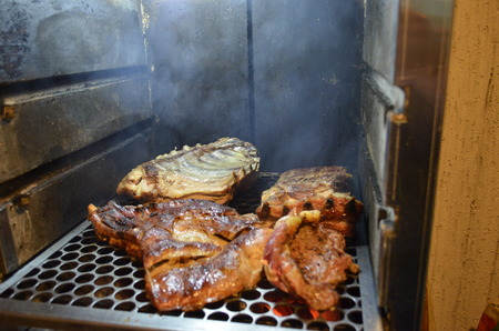 Barbecued rib on the grill