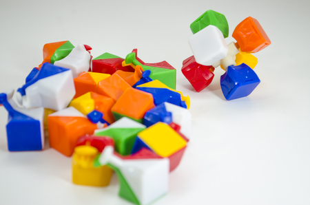 Riding the magic cube Stock Photo