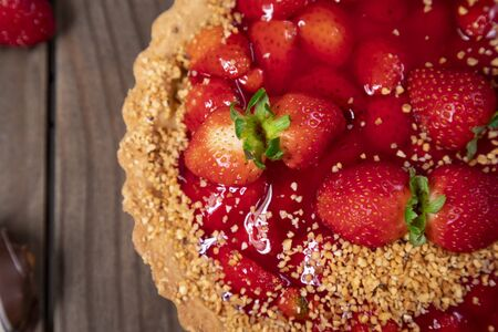 Delicious strawberry cake on the table 写真素材