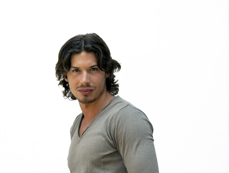 beautiful muscular guy white background Stock Photo - 16029101