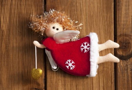 christmas angel decoration wooden background Stock Photo