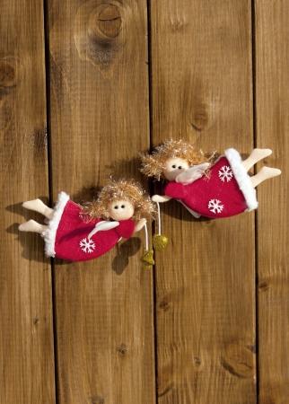 festones: Navidad decoraci�n de �ngeles fondo de madera