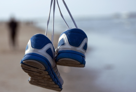 running shoes beach and sport Stock Photo