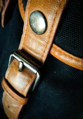 cloesup: Cloesup of a leather handbag with a belt buckle Stock Photo