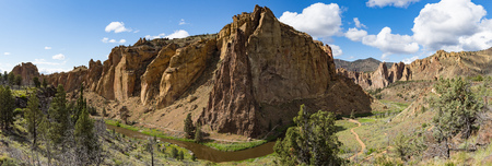 panorama of the front side of Smith Rock state park, Oregon Stock Photo