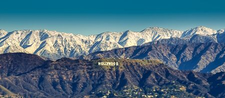 Los Angeles Hollywood Hills with snow