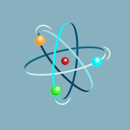 Atomvektor isometrisches Symbol auf grauem Hintergrund