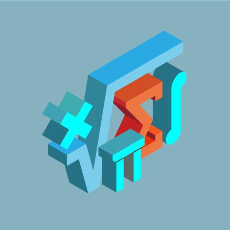 Símbolos matemáticos. Icono isométrico de vector sobre fondo gris