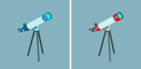 Telescope vector isometric icons on gray background Çizim