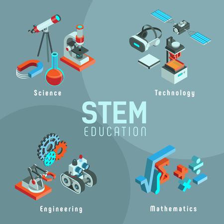 Ilustración de vector con elementos de la educación STEM. Ciencia, Tecnología, Ingeniería, Matemáticas. Conjunto de iconos isométricos.